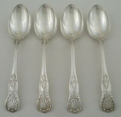 4 Large Victorian Silver King's Pattern Table Spoons, Sheffield 1899, 231mm 442g