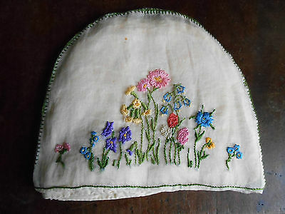 Vintage Hand Made & Embroidery Sheer Tea Cosy Flowers Sewing Fine Fabric