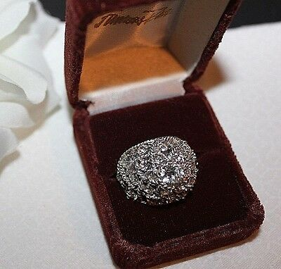 Stunning Crown Trifari Signed Rhinestone Domed Ring Excellent!!!
