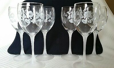 """Set of 5 Avon Hummingbird Lead Crystal Water or Wine Goblets 8.25"""" New w/out Box"""