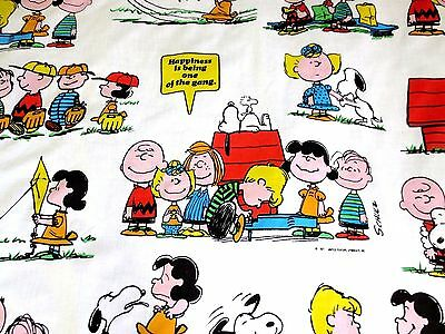 Peanuts Snoopy Charlie Brown Happiness Is TWIN FLAT SHEET United Feature 1971