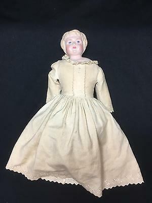 "Antique 21"" Doll Metal Head Kid Leather Body Stuffed w/ Sawdust Bisque Arms"