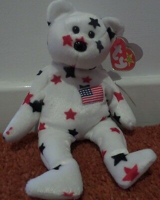 Ty Rare Glory Bear Beanie Baby with tag errors bought in USA immaculate
