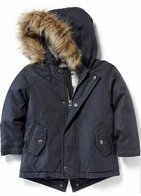 Old Navy Boys Toddler Parka Coat Jacket Puffer Warm Fur Hooded 5T NWT $44.94