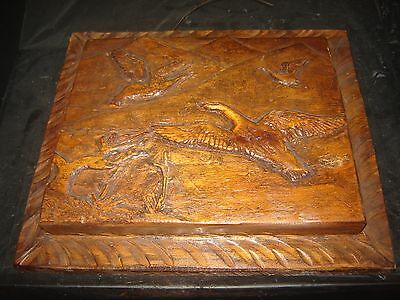 """Wooden Wood Bird Carving Picture Hand Carved Ducks Goose 17"""" x 15"""" Wall Hanging"""