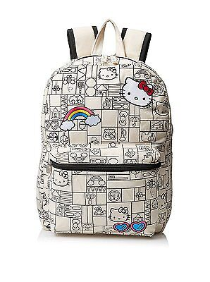 Hello Kitty Canvas Backpack For Girls Elementary High School Book Bag Rainbow