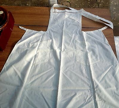 Vintage White Linen Apron With Cross Back Tie Fastening