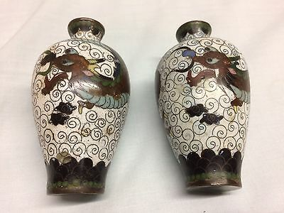 Antique Pair Of Rare Japanese Hand Painted Dragon Jars/pots Solid Brass/copper