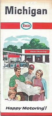 1966 ENCO HUMBLE OIL Road Map MICHIGAN Lansing Muskegon Detroit Grand Rapids