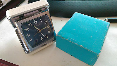 Acctim travel clock white leather covered, boxed. 21/220 white