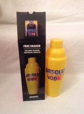 Yellow Absolut Vodka Andy Warhol Limited Edition Cocktail Shaker MIB Kitsch (j1)