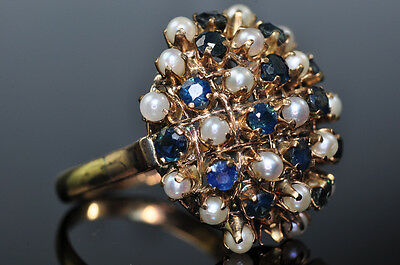 Antique Vintage 14K Yellow Gold Blue Spinel Seed Pearl Large Cocktail Ring