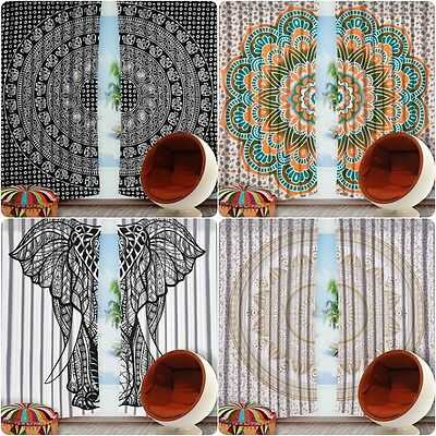 Ready made Indian Mandala Curtains Bohemian Ethnic Home Decor Hippie Tapestry