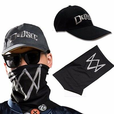 New Game Watch Dogs 2 Marcus Holloway Black Cap Hat +Face Mask Cosplay Custome B
