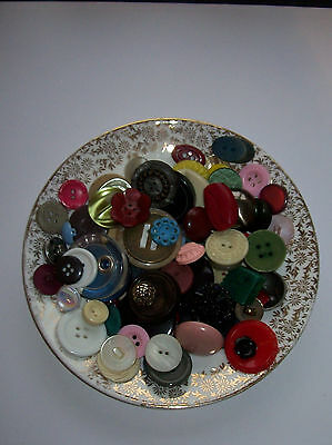 100  Vintage Buttons As Seen Together With Cute Vintage Saucer To Display Vgc
