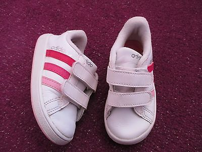 Girls Adidas Pink And White Trainers Infant Size Uk 5