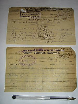 Heswall Hills Station, North Wales & Liverpool Railway Committee: 2 memos, 1902