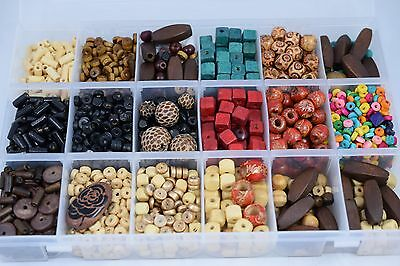 Wholesale joblot wooden bead mix-  storage box  full of assorted colours/shapes