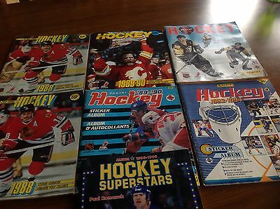 Lot of 7 Hockey Stickers Albums and one hockey album superstars