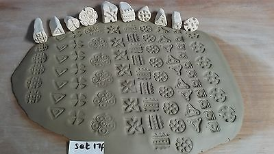 Pottery clay /fondant icing texture pattern stamps decoration embossing (17f)