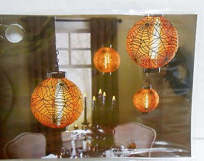 Pier  1 imports Halloween LED Set of 2 Fabric Lanterns Timer Indoor/Outdoor