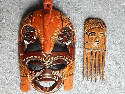 African mask and comb lot