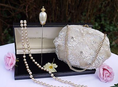 Lovely Vintage Items,  Evening  Bag, Hat Pin And A Long Pearl Necklace With Box