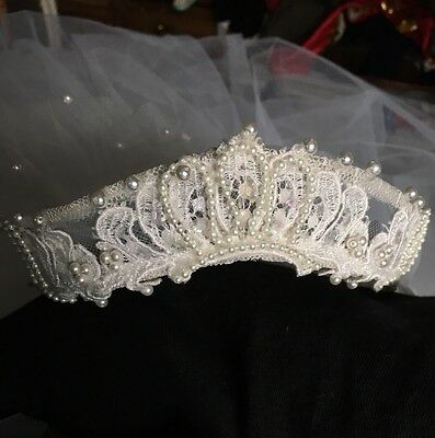 VTG Cathedral Bridal VEIL Extra Long White Wedding Beaded Wired