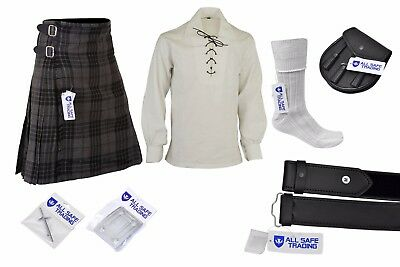 Men's Scottish 9 Piece 8 Yard Kilt Outfit with Sporran Hamilton Grey Tartan Kilt