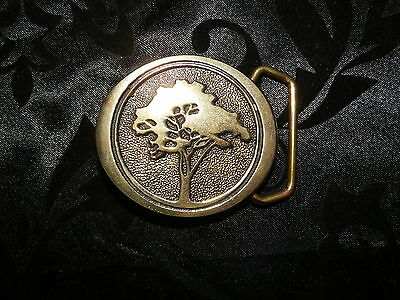 Vintage BTS Solid Brass Tree of Life Belt Buckle Made in USA