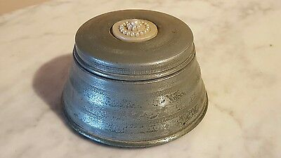 Vintage Aluminum Powder Vanity Music Box With A Celluloid Ornate Pearl Top