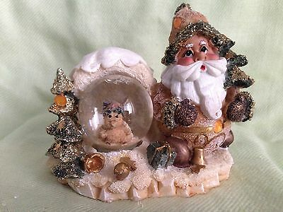 Brand New Gold Colour Father Christmas Snow Globe Ornament