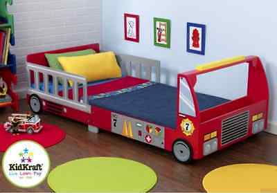 Toddler Bed Fire Engine Close To The Floor Boys Fireman Sam Children's Bedroom
