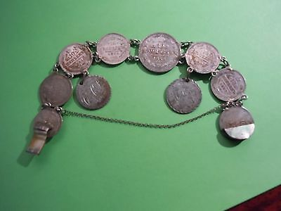 (1861-1882) Russian Silver Love Token Bracelet Made Of 10 & 20 Kopek Coins