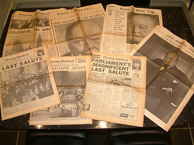 Sir Winston Churchill's  Deeath & Funeral.  1965.  7 Actual Vintage Newspapers.