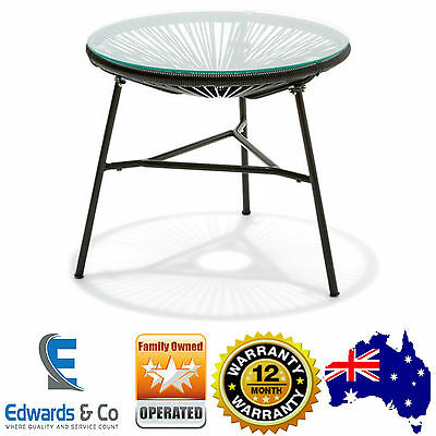 Outdoor Mexican Acapulco Replica Side Table Black Tempered Glass Table Top New