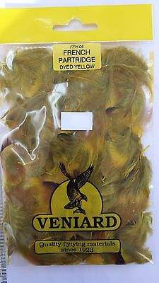 """1 pack  VENIARD fly tying FRENCH PARTRIDGE feathers  """"YELLOW"""" FREE SHIPPING"""