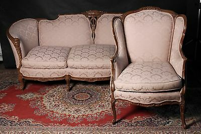 Victorian French Carved Settee Sofa And Wing Chair Stunning Fabric