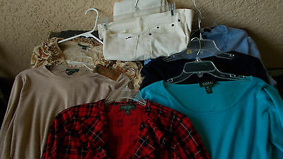 Lot of 7 Ladies Ralph Lauren Clothing.  1 jean and 6 tops. EUC. Large