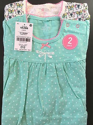 Next Baby Girls 2 Pack Green Butterflies Frilly Sleepsuits 12-18 months NWT