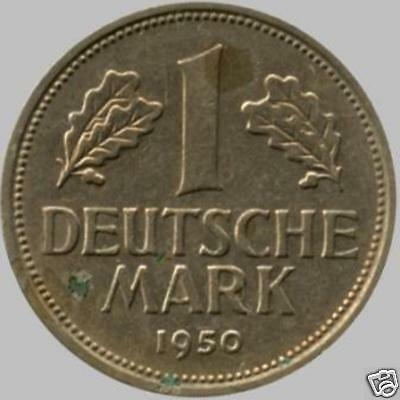 1950 'G' Germany 1 Mark Coin