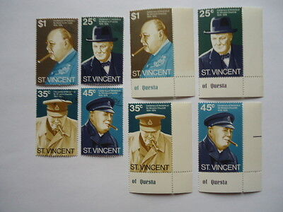 St Vincent QEII 1974 SG403-6 25c-$1 MNH & used Winston Churchill
