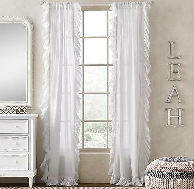 NEW Restoration Hardware Ruffled Voile White Petal Pink Panel 50 X 108