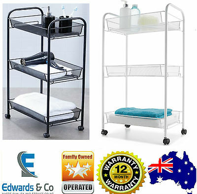 Kitchen Bathroom Storage Trolley Shelf Rack Saver Laundry 3 Tier Wheels Baskets