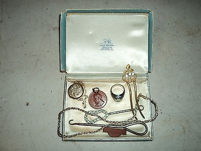 Estate Find Lot Sterling Silver & More Hat Pin, Class Ring, Locket!!