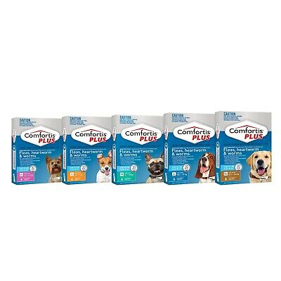 Comfortis Plus (Panoramis) for Dogs - Kills Fleas, Worms & Heartworm 6 Pack