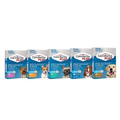 Comfortis Plus for Dogs - Kills Fleas, Worms & Heartworm 6 Pack