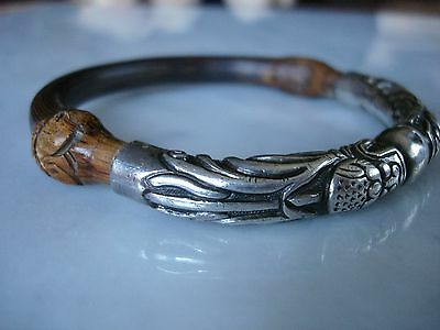 Antique Chinese Bamboo Rattan Silver Dragon Repousse Bangle Bracelet