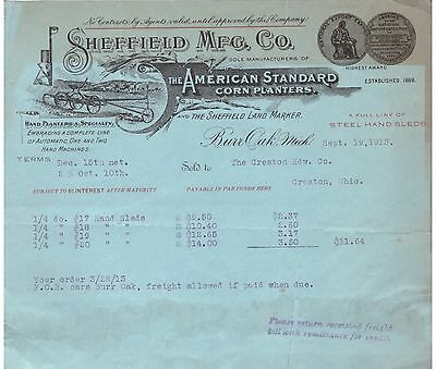 1913 Billhead Burr Oak Michigan Sheffield Manufacturing Corn Planters