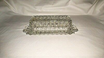 Vtg American Fostoria Clear Glass 1/4 Lb Butter Dish With Lid